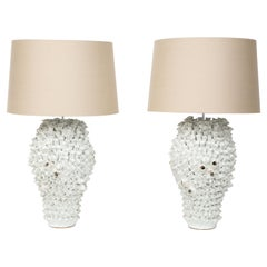 Pair of Coral Ceramic Table Lamps, in Stock