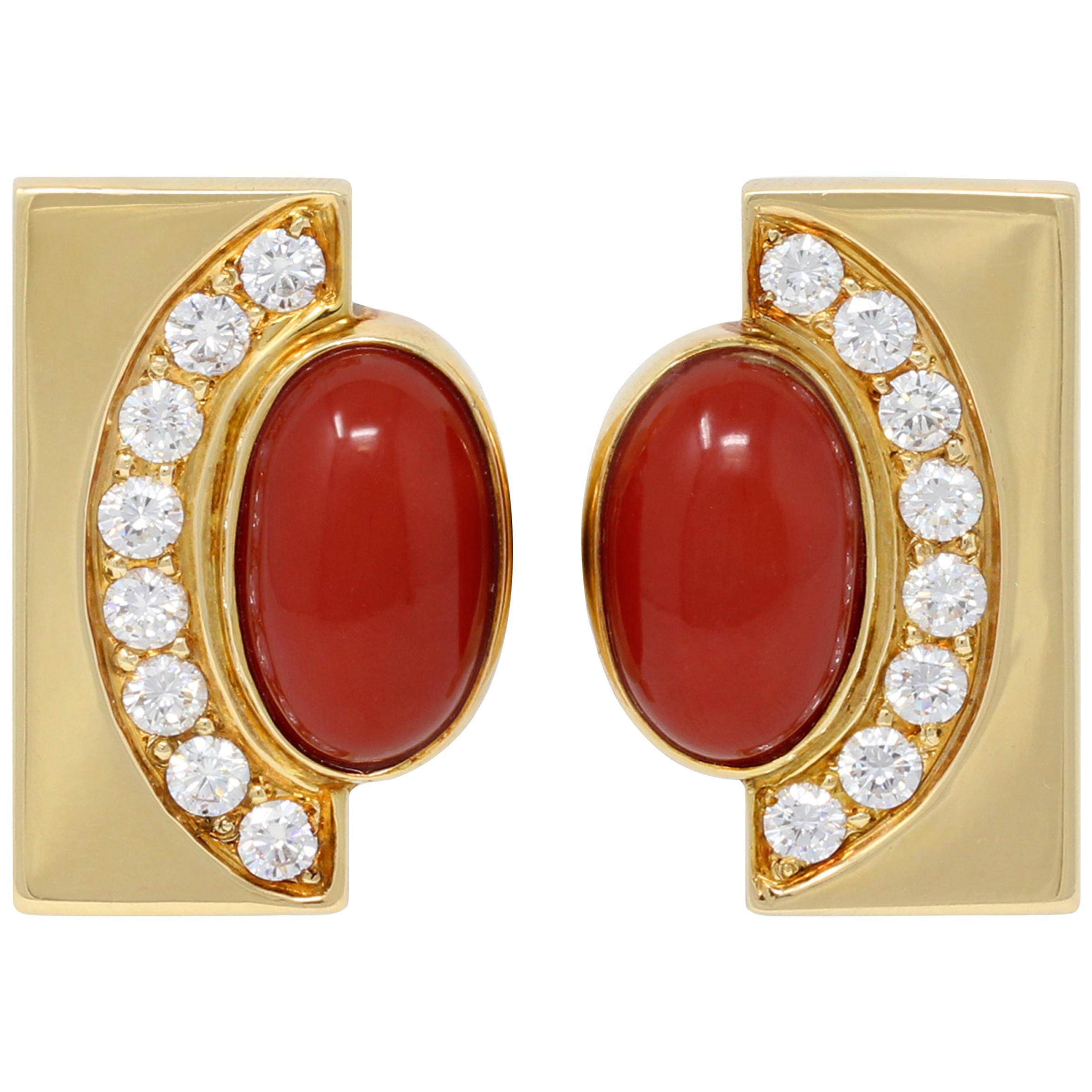 Pair of Coral, Diamond and 18 Karat Yellow Gold Earclips