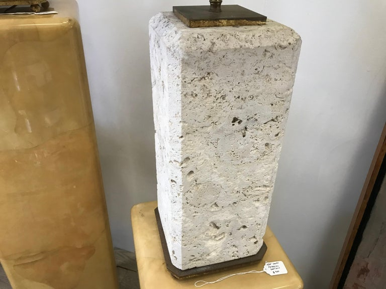 Modern Pair of Coral Stone Lamps For Sale