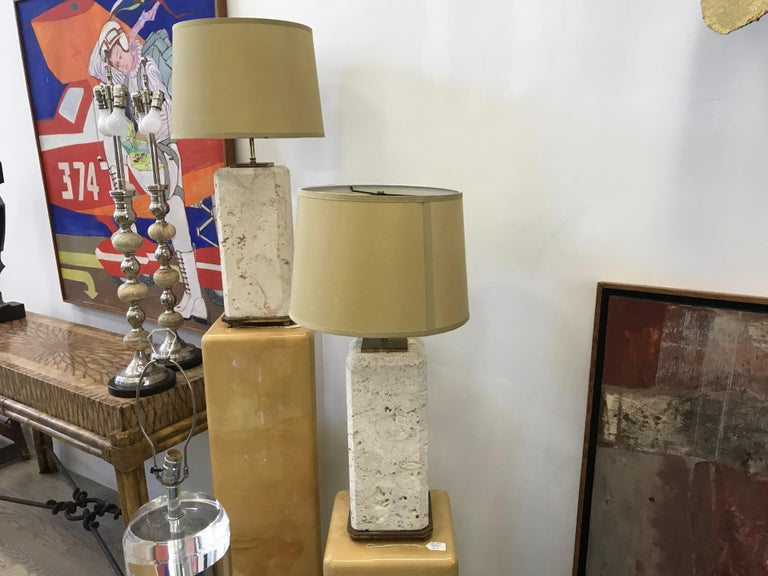 Pair of Coral Stone Lamps In Good Condition For Sale In Miami, FL
