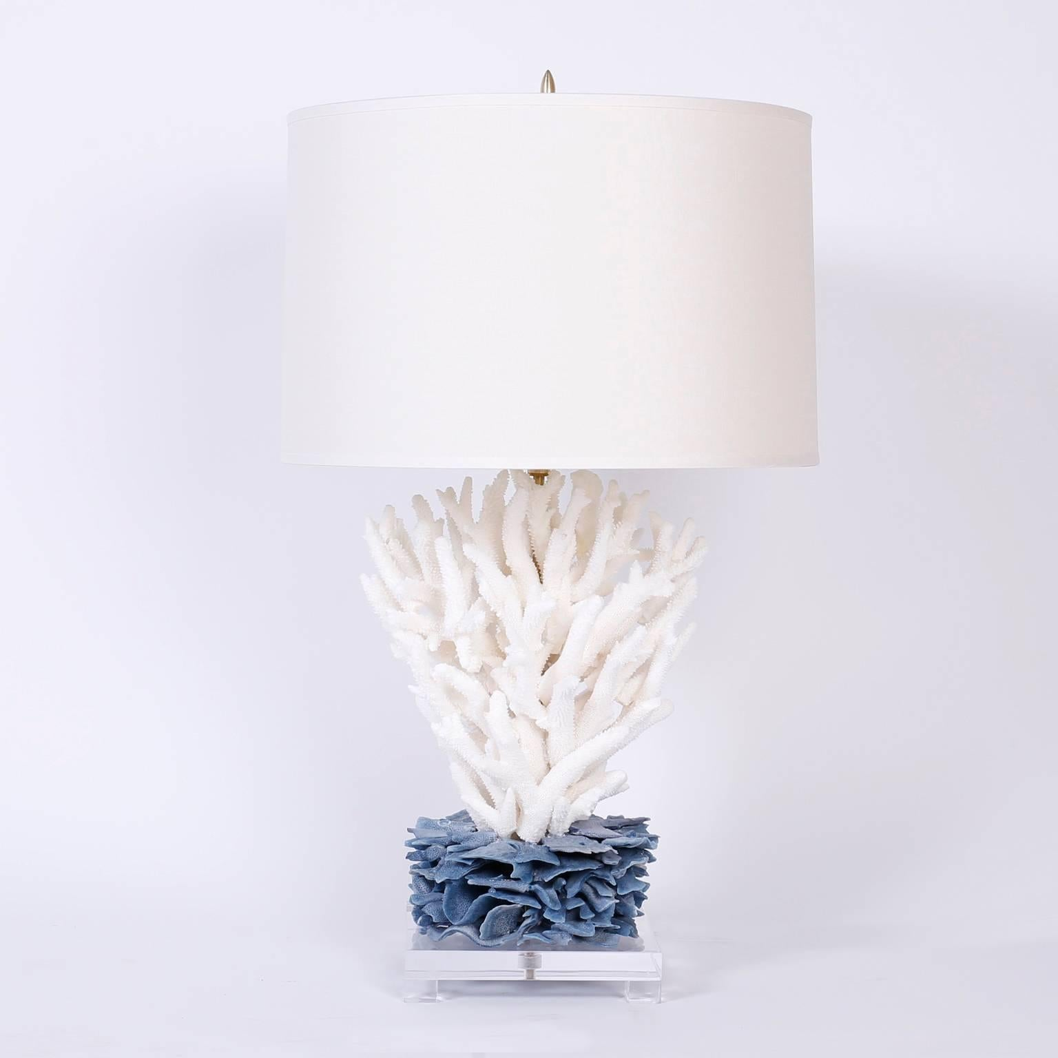 Pair of coral table lamps at 1stdibs aloadofball Images