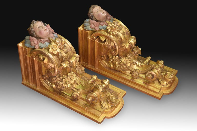 Spanish Pair of Corbels, Polychromed and Gilded Wood, Castille, Spain, 18th Century For Sale