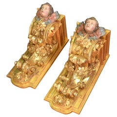 Pair of Corbels, Polychromed and Gilded Wood, Castille, Spain, 18th Century