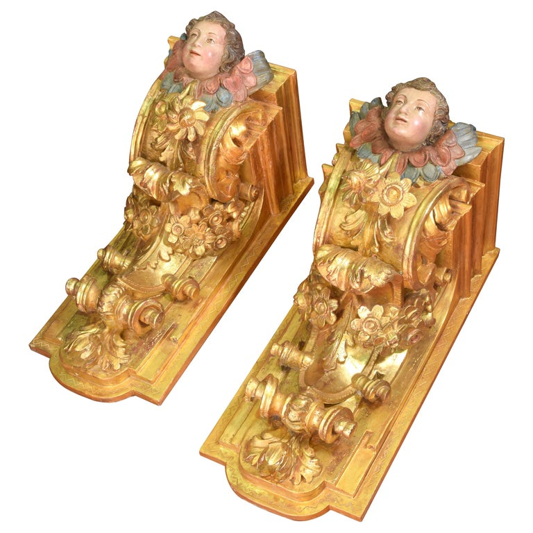 Pair of Corbels, Polychromed and Gilded Wood, Castille, Spain, 18th Century For Sale