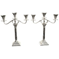 Pair of Corinthian Column 3 Light Silver Candelabra, Birmingham, 1932