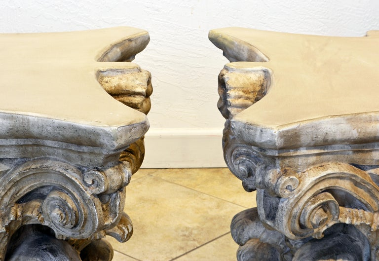 Pair of Corinthian Plaster Capitals after The Antique, Table Bases or Sculptures 5