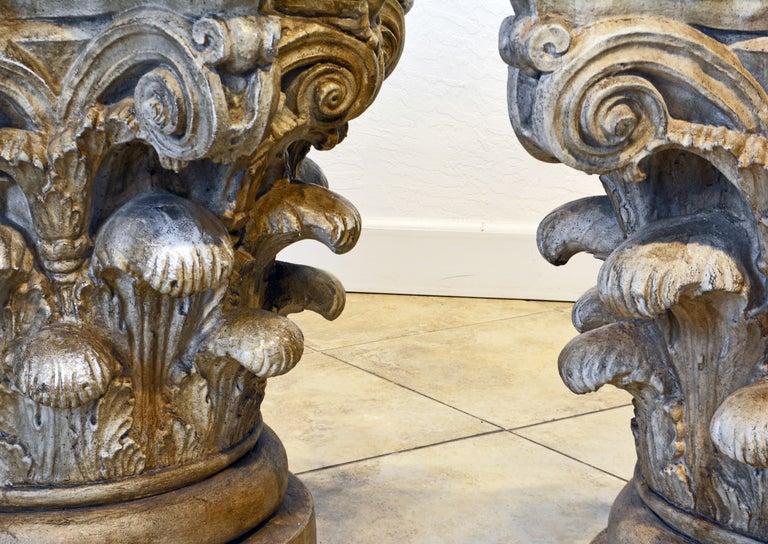 Pair of Corinthian Plaster Capitals after The Antique, Table Bases or Sculptures 7