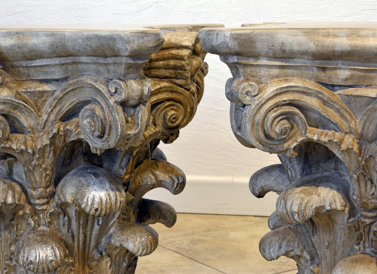 Pair of Corinthian Plaster Capitals after The Antique, Table Bases or Sculptures 8