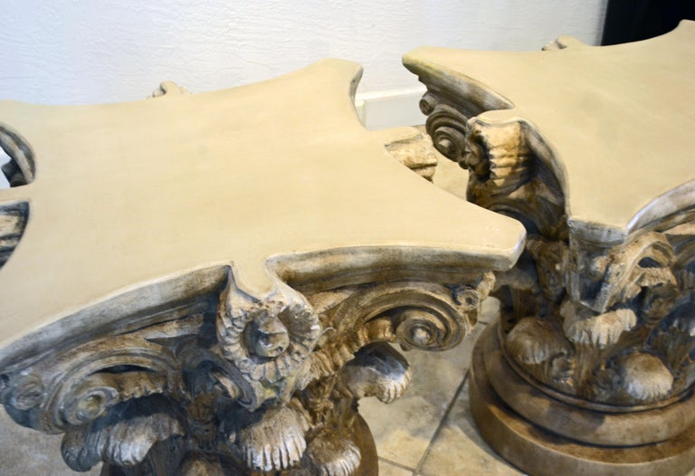 Pair of Corinthian Plaster Capitals after The Antique, Table Bases or Sculptures 9