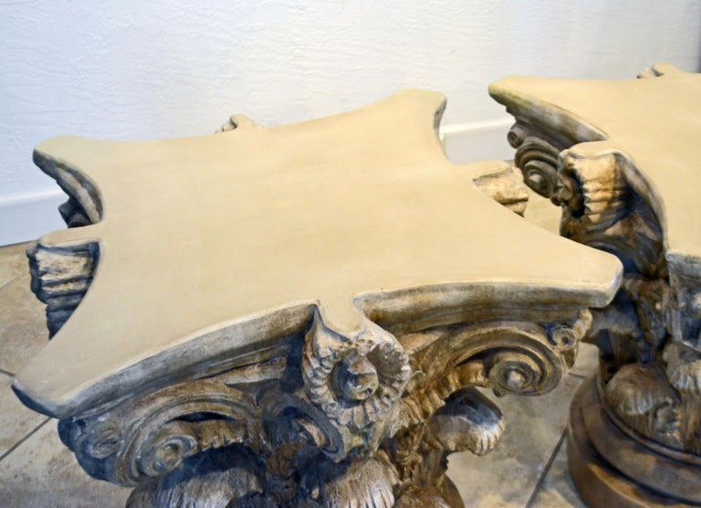 Pair of Corinthian Plaster Capitals after The Antique, Table Bases or Sculptures 10