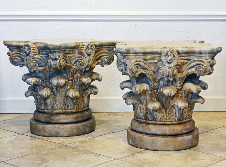 Neoclassical Pair of Corinthian Plaster Capitals after The Antique, Table Bases or Sculptures