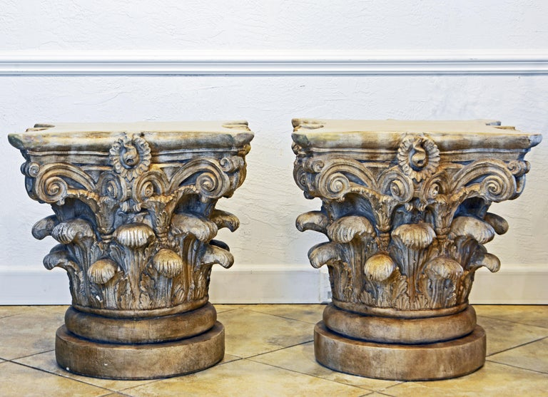 Italian Pair of Corinthian Plaster Capitals after The Antique, Table Bases or Sculptures