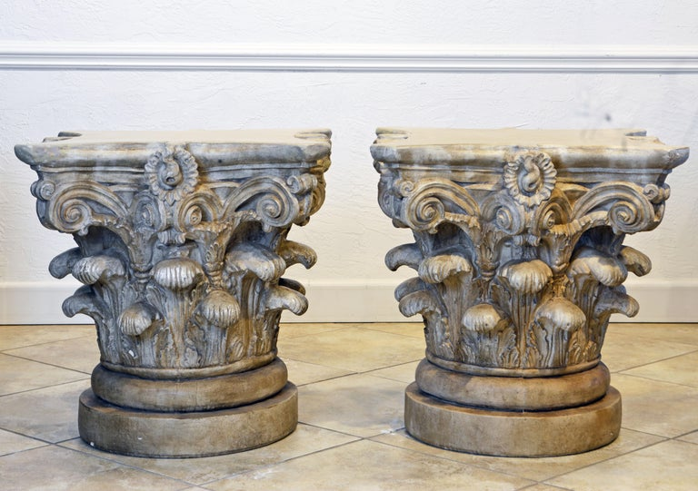 Patinated Pair of Corinthian Plaster Capitals after The Antique, Table Bases or Sculptures