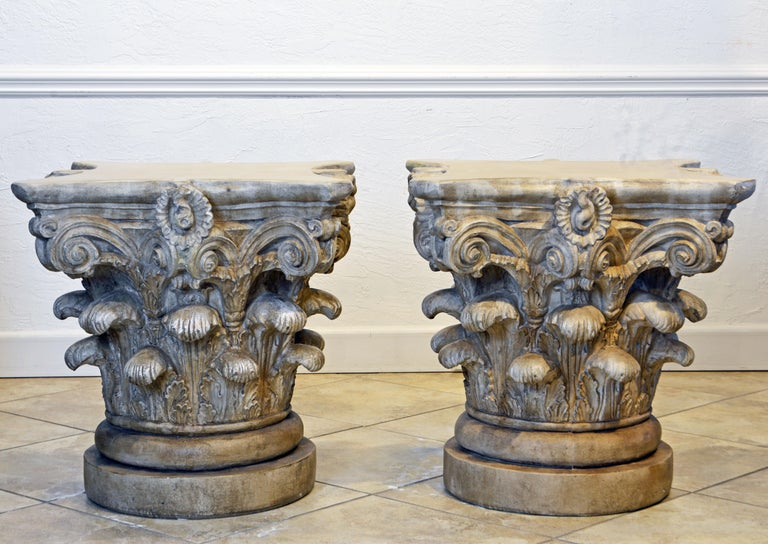 Pair of Corinthian Plaster Capitals after The Antique, Table Bases or Sculptures In Good Condition In Ft. Lauderdale, FL