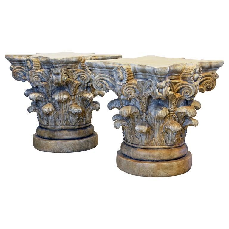 Pair of Corinthian Plaster Capitals after The Antique, Table Bases or Sculptures