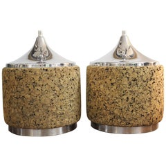 Pair of Cork and Steel Table Lamps