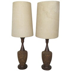 Pair of Cork Table Lamps