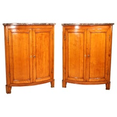 Pair of Corner Cupboards Louis XVI Style in Cherry