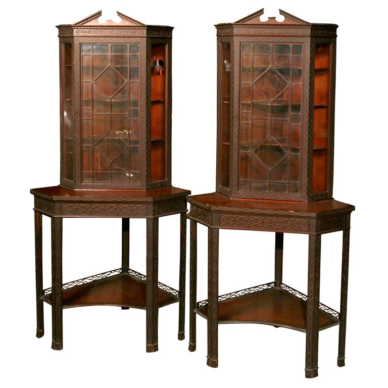 Display Kitchen Cabinets For Sale: Pair Of Corner Display Cabinets For Sale At 1stdibs