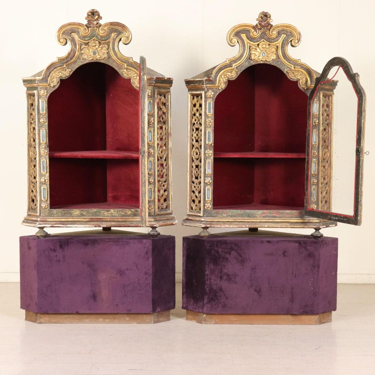 Damaged Kitchen Cabinets For Sale: Pair Of Corner Glass Cabinets Wood, Italy, Late 1700s For