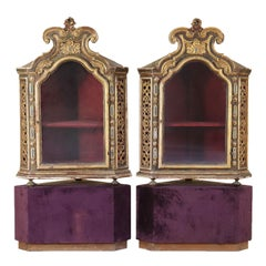 Pair of Corner Glass Cabinets Wood, Italy, Late 1700s