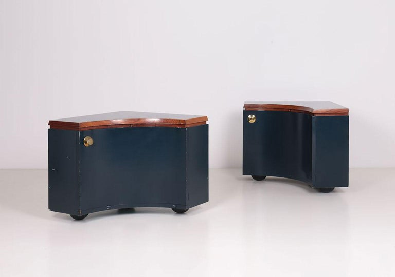 Pair of corner units, unique pieces designed by Luigi Caccia Dominioni for the house of painter Sergio Vacchi in Bologna, Italy.