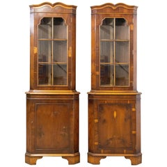 Pair of Corner Vitrines French Midcentury Yew Wood Showcase Cabinets