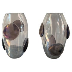 Pair of Costantini Vases with purple Murano Glass Pellets, 1990
