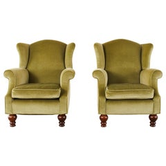 Pair of Country English Mohair Wingback Chairs