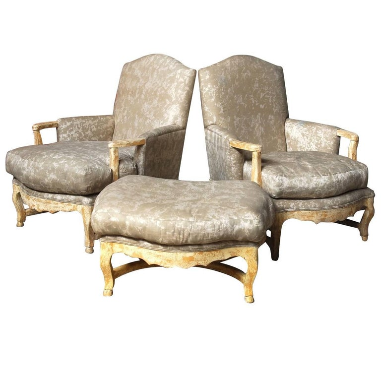 Pair of Country French Bergere Armchairs with Ottoman at ...