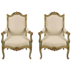 Pair of Country French Early 19th Century Louis XV Style Armchairs