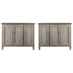 Pair of Country French Louis XVI Style Three-Door Patinated Gray Buffets