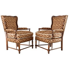 Pair of Country French Provincial Style Wingback Chairs