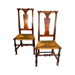 Pair of Country Queen Anne Chairs
