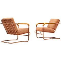 Pair of Cova Armchairs with Copper Frame, Italy, 1930s