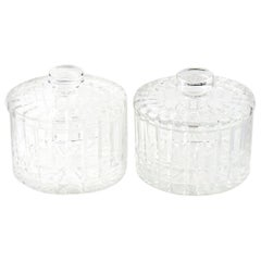 Pair of Covered Cut Crystal Candy Jars