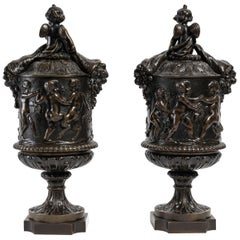 Pair of Covered Goblets in Patinated Bronze