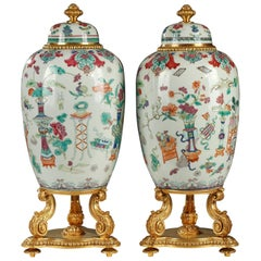Pair of Covered Jars Attributed to l'Escalier de Cristal