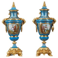 Pair of Covered Vases in Polychrome Porcelain in the Taste of Sèvres