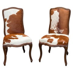 Pair of Cow Hide Upholstered Rococo Style Chairs