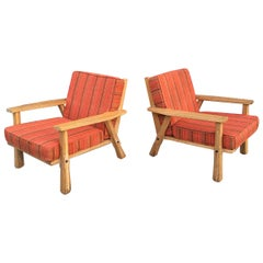 Pair of Cowboy Modern Pickled Ranch Oak Lounge Chairs for Brandt