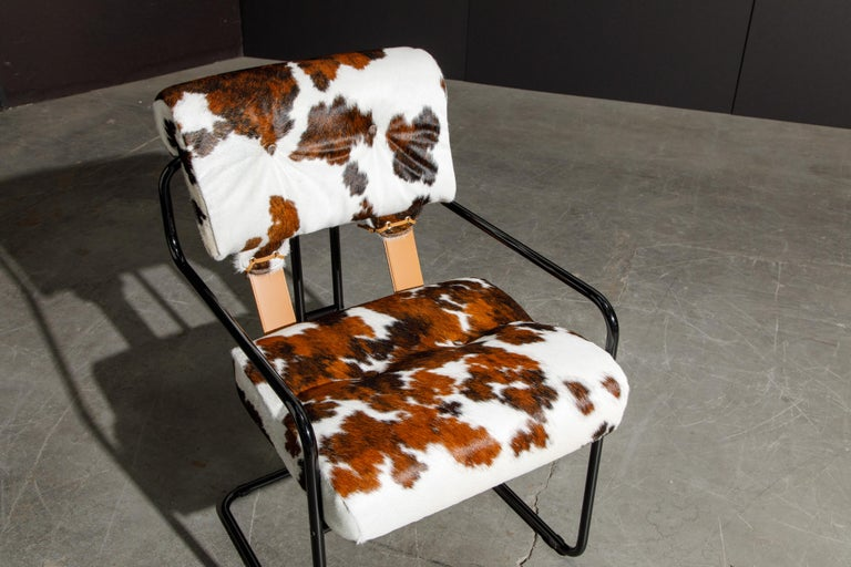 Pair of Cowhide Leather Tucroma Armchairs by Guido Faleschini for Mariani, New For Sale 5