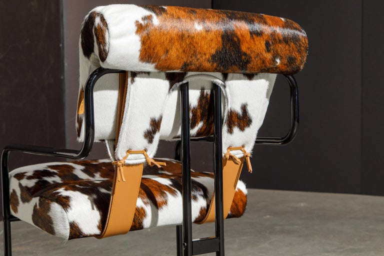 Pair of Cowhide Leather Tucroma Armchairs by Guido Faleschini for Mariani, New For Sale 9