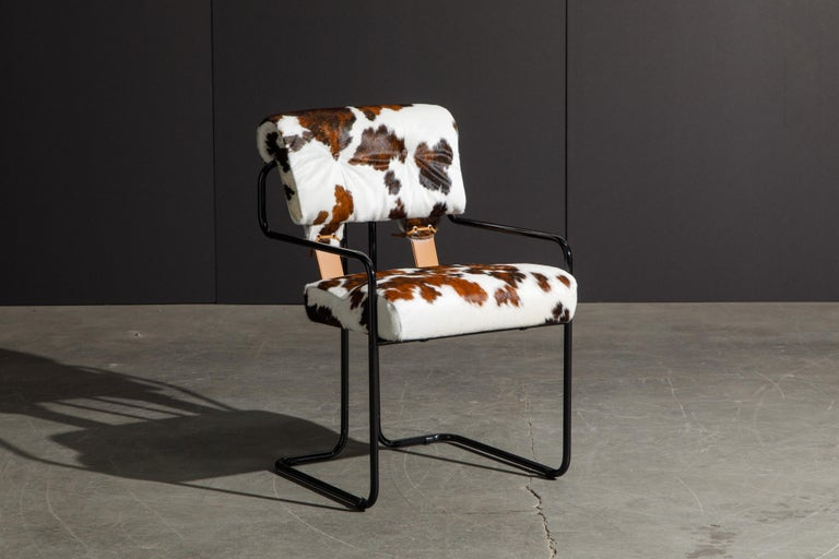 Italian Pair of Cowhide Leather Tucroma Armchairs by Guido Faleschini for Mariani, New For Sale