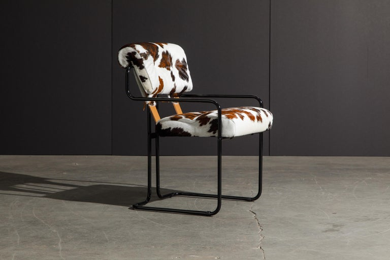 Lacquered Pair of Cowhide Leather Tucroma Armchairs by Guido Faleschini for Mariani, New For Sale