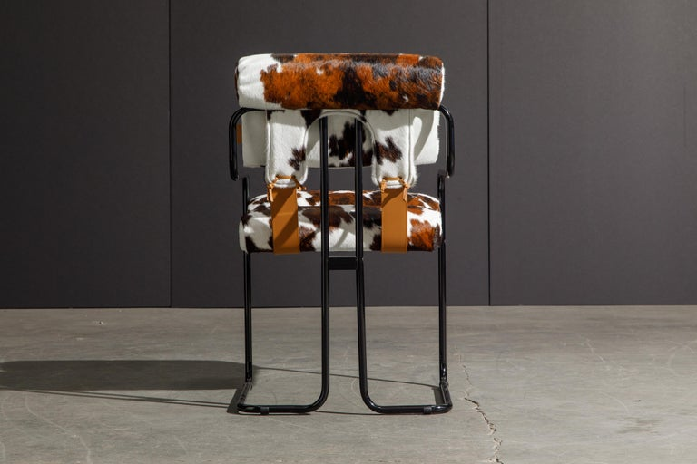 Steel Pair of Cowhide Leather Tucroma Armchairs by Guido Faleschini for Mariani, New For Sale