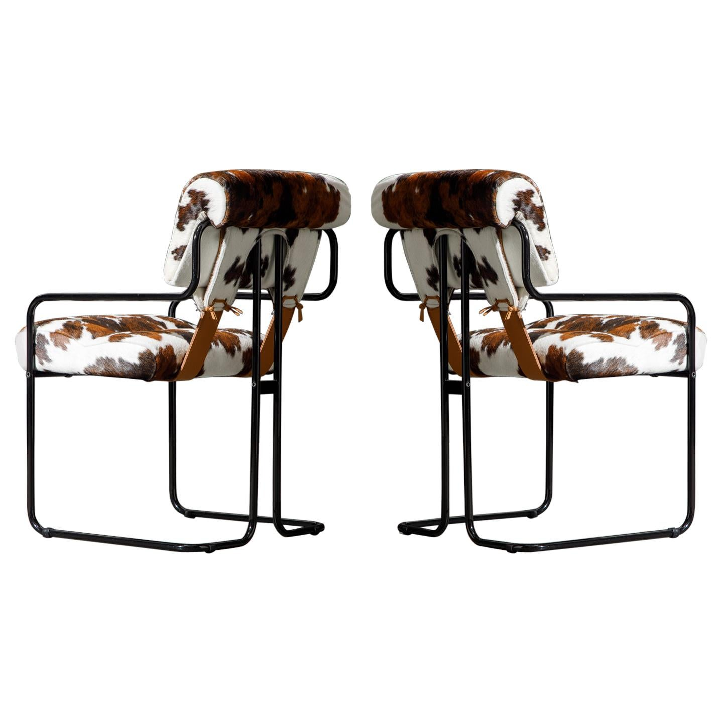 Pair of Cowhide Leather Tucroma Armchairs by Guido Faleschini for Mariani, New