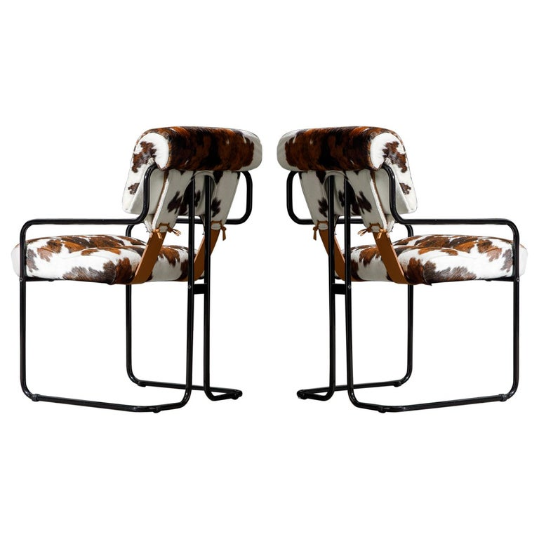 Pair of Cowhide Leather Tucroma Armchairs by Guido Faleschini for Mariani, New For Sale
