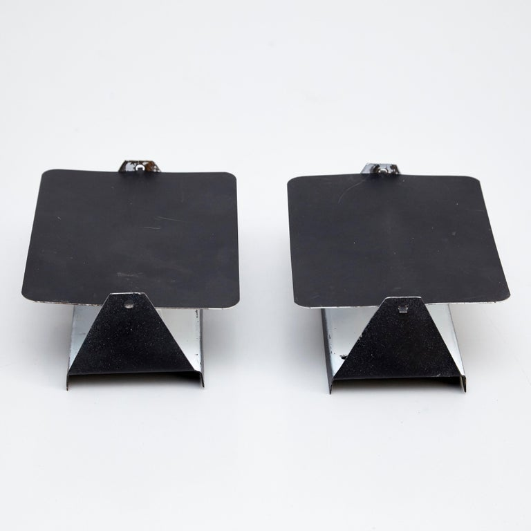 Pair Of Charlotte Perriand Mid Century Modern Black Metal