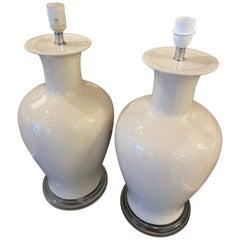 Pair of Cracked Ceramic Lamp